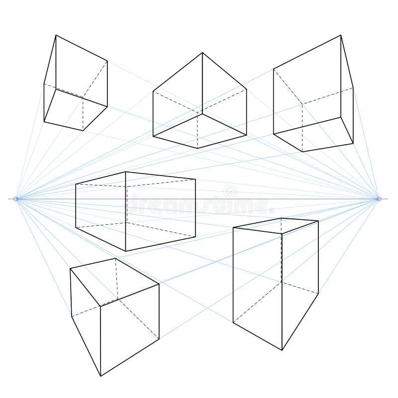 Twee Lijntekeningen van het Puntperspectief Vectorreeks Kubussen en Parallellepipeda vector illustratie