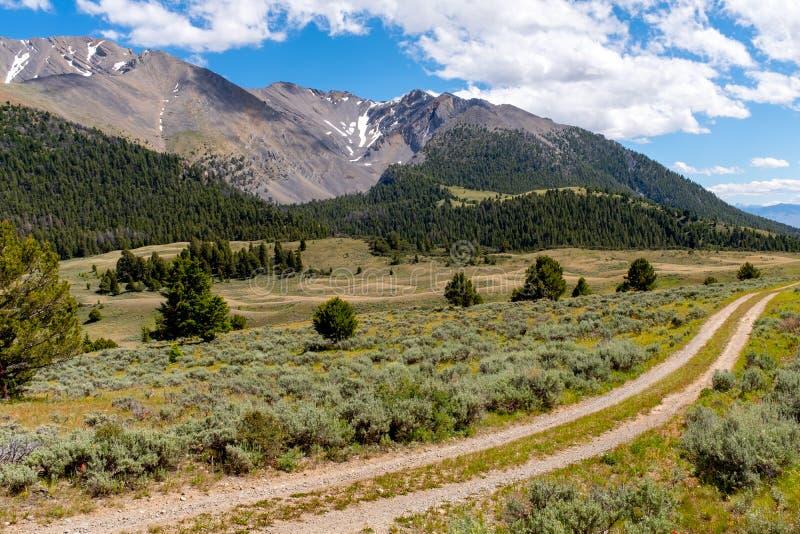 Twee lood van de weglandweg door de hoge rotsachtige bergen van Idaho royalty-vrije stock foto