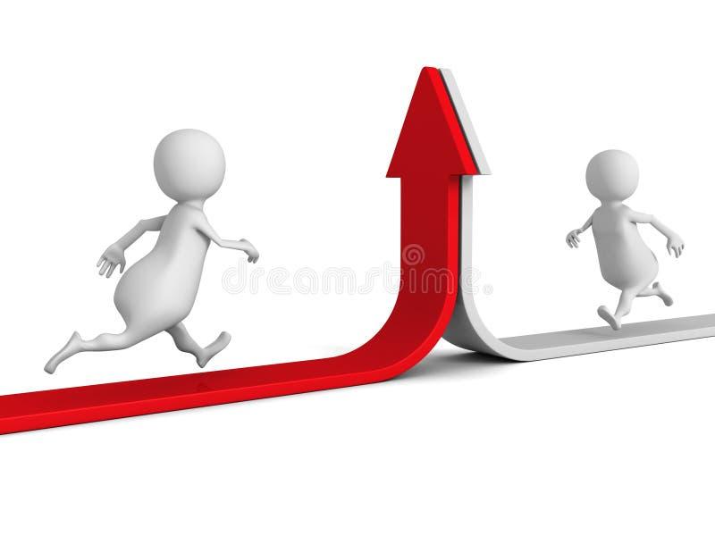 Twee lopende Mensen op het Toenemen Pijlen Het concept van het vennootschap royalty-vrije illustratie