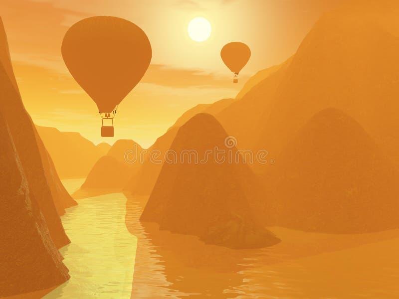 Twee luchtballonnen stock illustratie