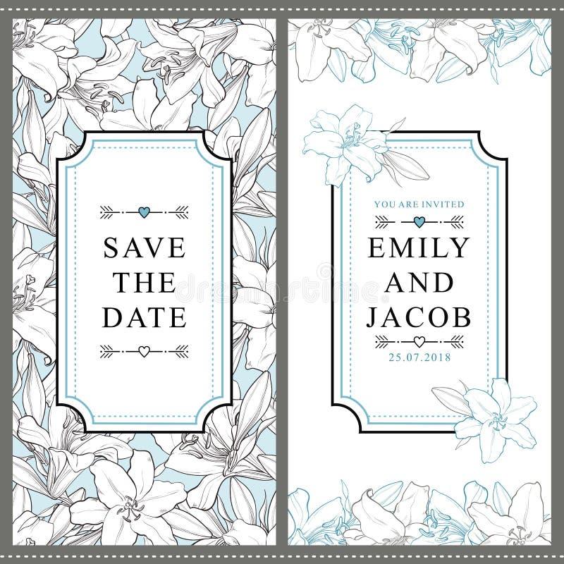 Twee malplaatjes van de huwelijksuitnodiging met witte lelies royalty-vrije illustratie