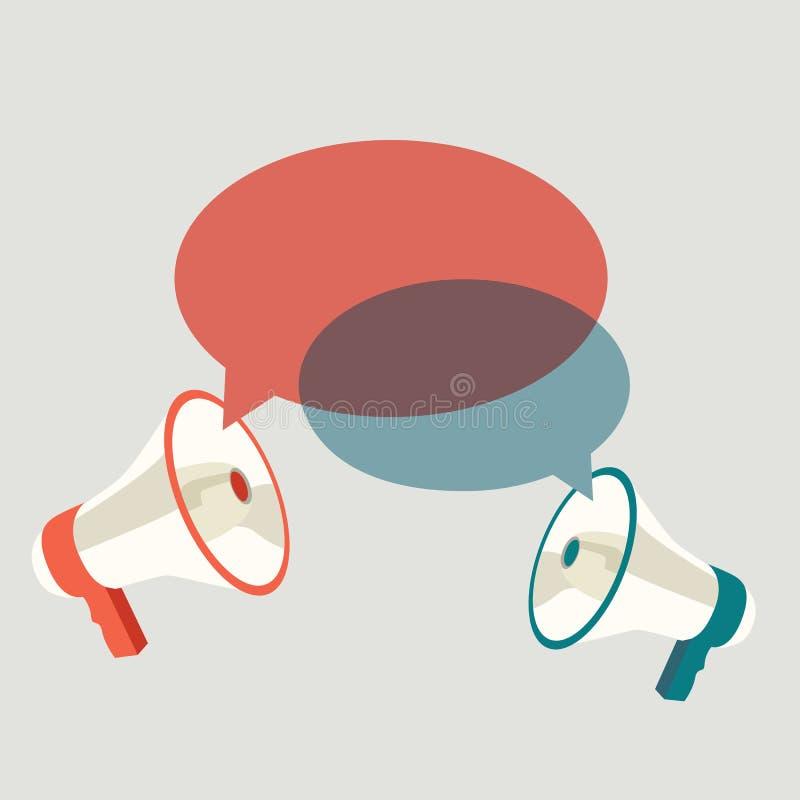 Twee malplaatjes van de megafoonstoespraak voor tekst royalty-vrije illustratie