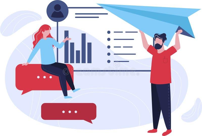 Twee managers verzamelen de informatie over hun cliënten voor CRM stock illustratie