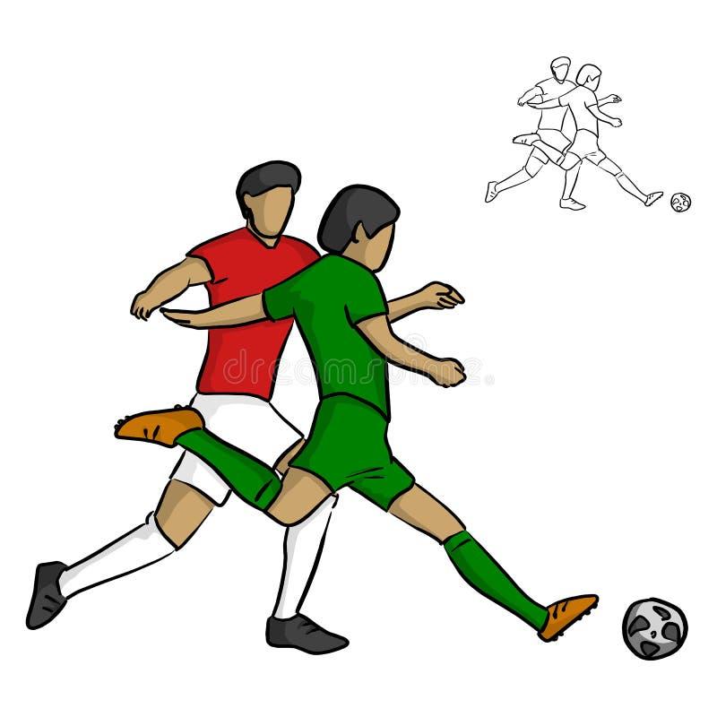 Twee mannelijke voetballers die voor een bal vectorillustratie vechten royalty-vrije illustratie