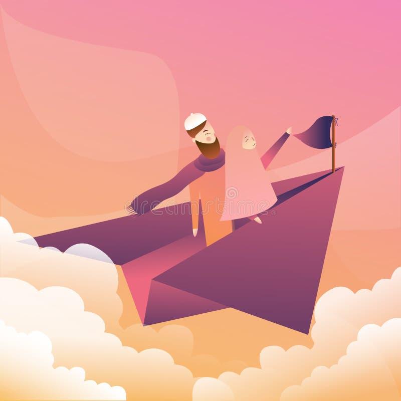 Twee mannelijke vrouwelijke paarvlieg op document vliegtuigen bij zonsondergang moslim die hijab sjaal dragen vector illustratie