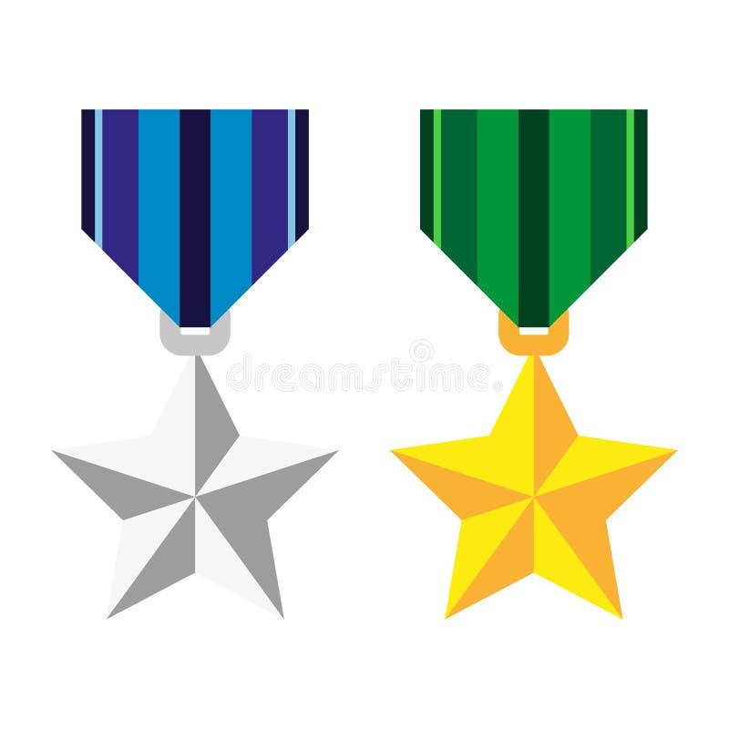 Twee medailles in de vorm van een ster, zilveren en gouden stock illustratie