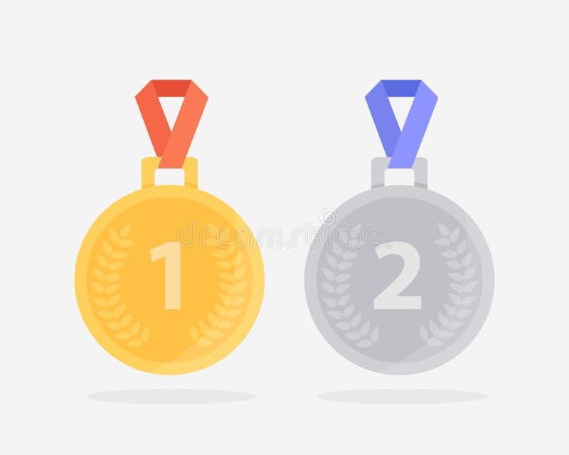Twee medailles voor de eerste en tweede plaats Gouden medaille met rood lint en zilveren medaille met blauw lint royalty-vrije illustratie