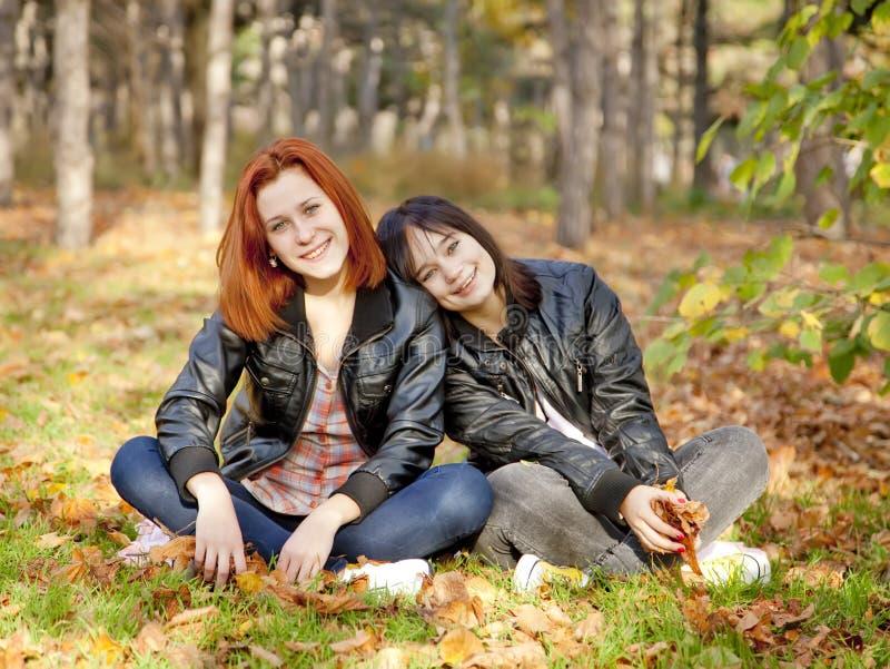 Twee meisjes bij de herfst parkeren. stock fotografie