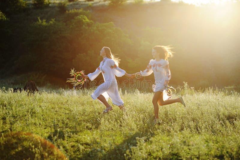 Twee meisjes in de nationale Oekraïense kleren met kronen van stroom royalty-vrije stock afbeelding