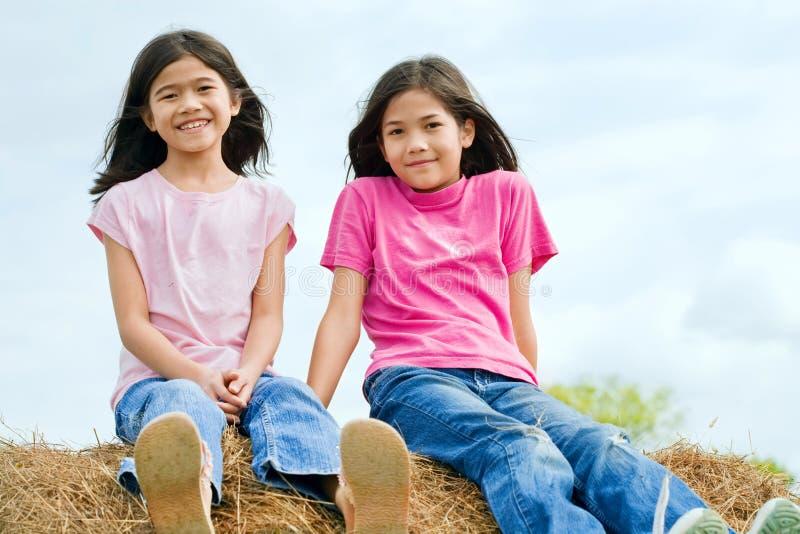 Twee meisjes die bovenop haybale zitten stock afbeeldingen