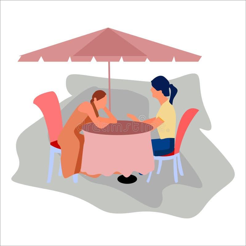 Twee meisjes die in de koffie zitten Vector stock illustratie