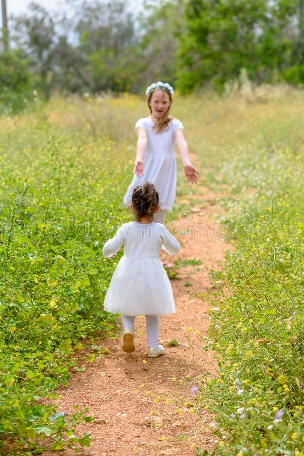 Twee meisjes die het lopen op groene bos openlucht spelen stock afbeelding