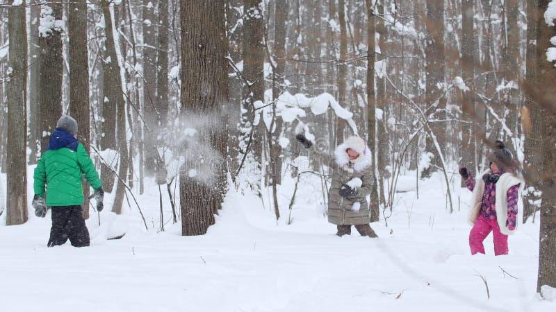 Twee meisjes die met een kleine jongen in de sneeuw in de winter het bos Werpen spelen doet escaleren stock afbeeldingen