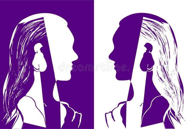 Twee meisjes die met lang haar elkaar bekijken Purpere en witte vectorillustratie Silhouet van vrouwenhoofd Profilet stock illustratie
