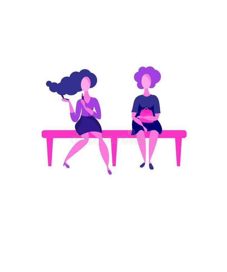 Twee meisjes die op een bank zitten stock illustratie