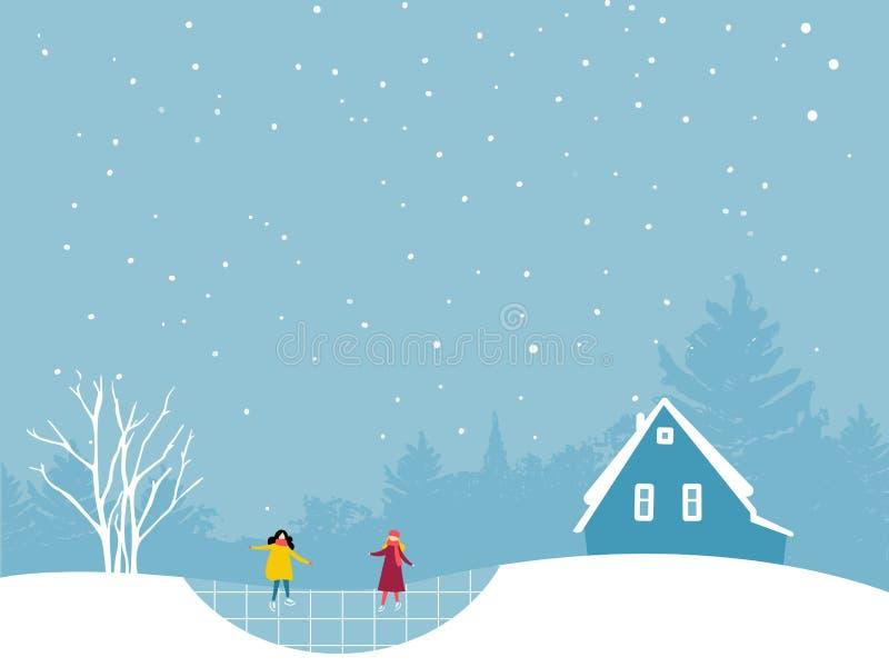 Twee meisjes die op ijsbaan schaatsen De winter landcsape vlak illustratie met bomen en plattelandshuisjecabine royalty-vrije illustratie