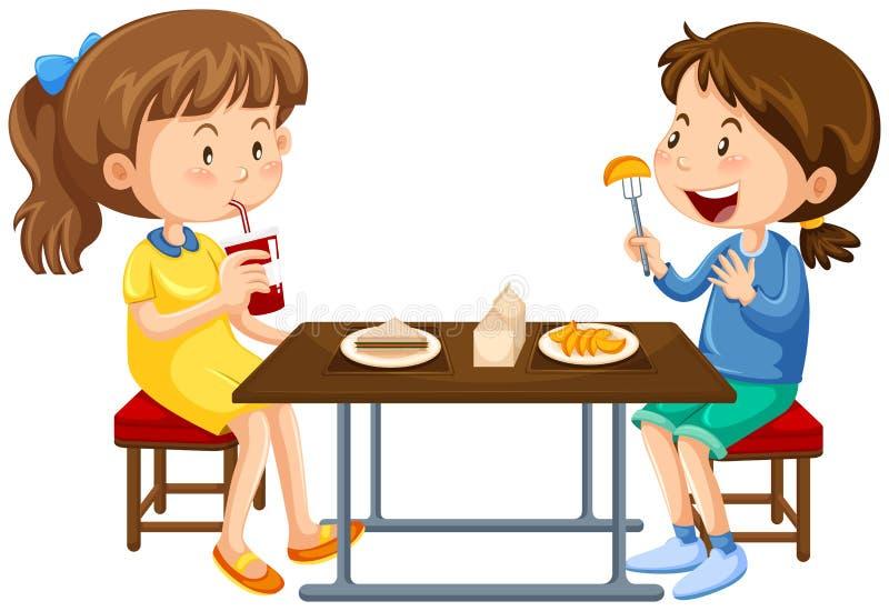 Twee meisjes die op picknick eten dienen in stock illustratie