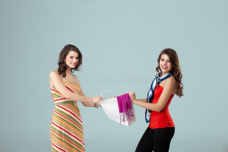 Twee meisjes die over het winkelen zak het glimlachen vechten stock afbeelding