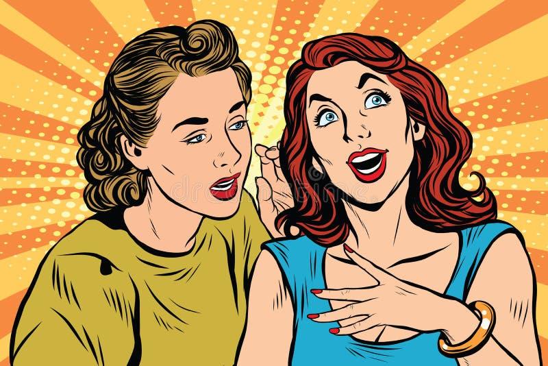 Twee meisjes die pop-art spreken vector illustratie