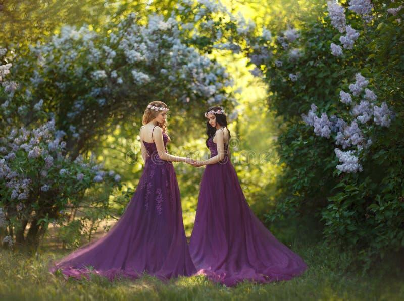 Twee meisjes, een blonde en een brunette, met liefde die elkaar koesteren Achtergrond van een mooie bloeiende lilac tuin stock afbeeldingen