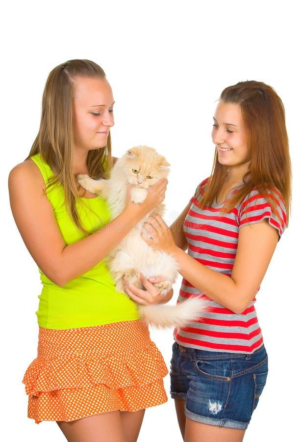 Twee meisjes en kat stock afbeelding