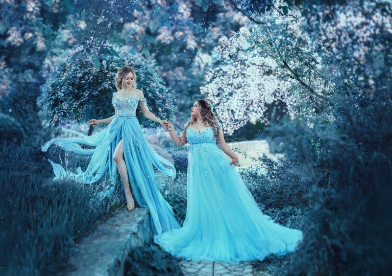 Twee meisjes in fee-blauw, vliegende kleding in de wind, lopen door de de lentetuin Twee houdende van zusters van royalty-vrije stock afbeelding