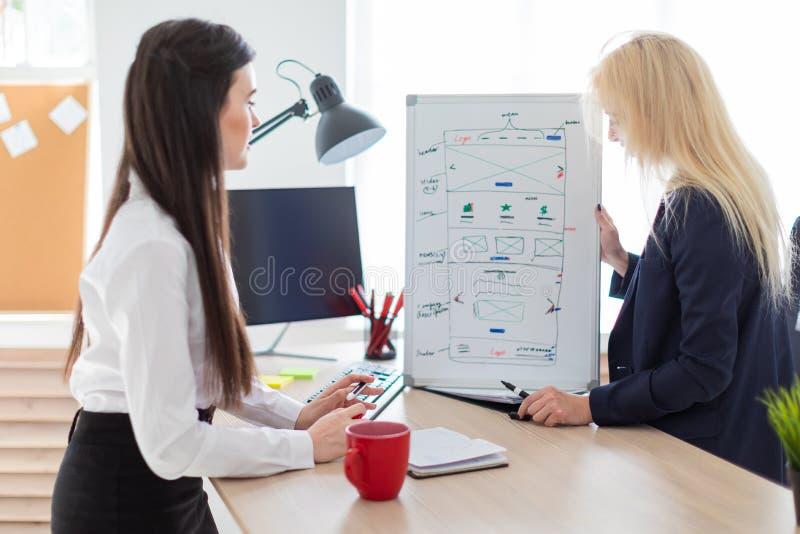 Twee meisjes in het bureau die het project op een magnetische Raad bespreken stock afbeeldingen