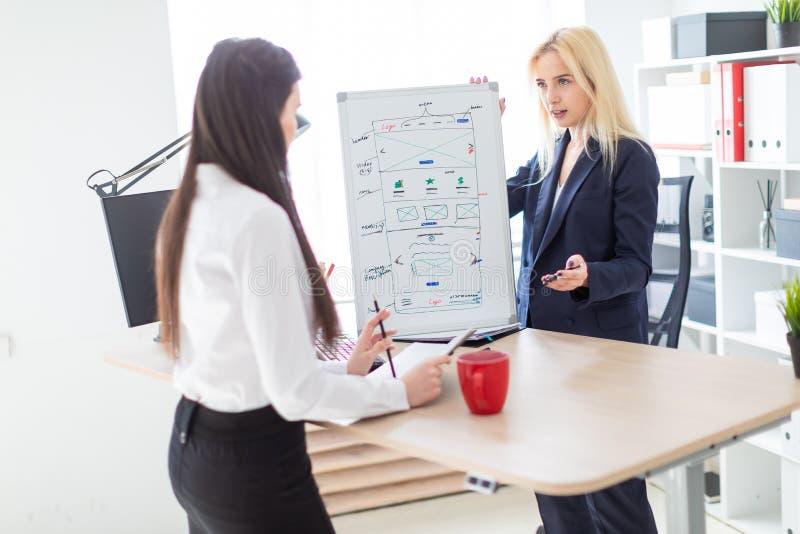 Twee meisjes in het bureau die het project op een magnetische Raad bespreken stock afbeelding