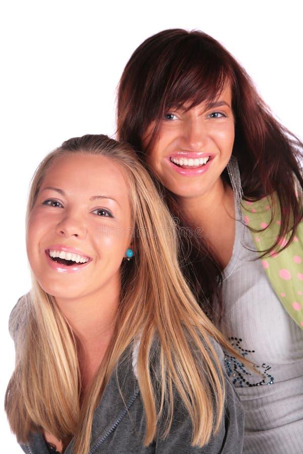 Twee meisjes het glimlachen stock fotografie