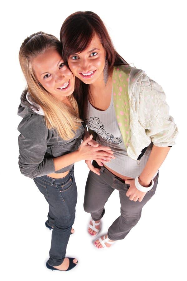 Twee meisjes hoogste mening royalty-vrije stock afbeelding