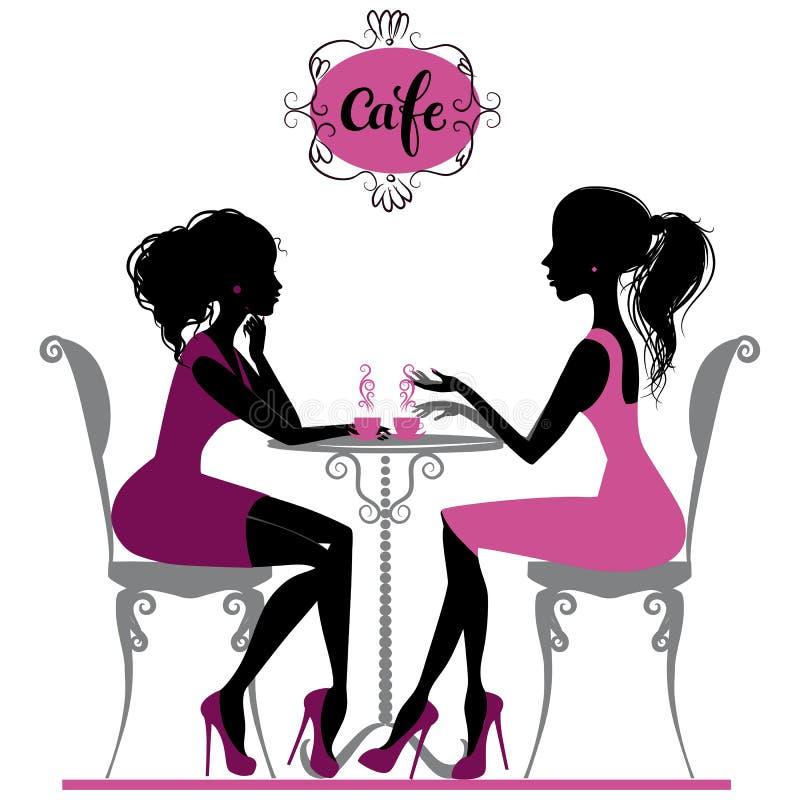 Twee meisjes in koffie stock illustratie
