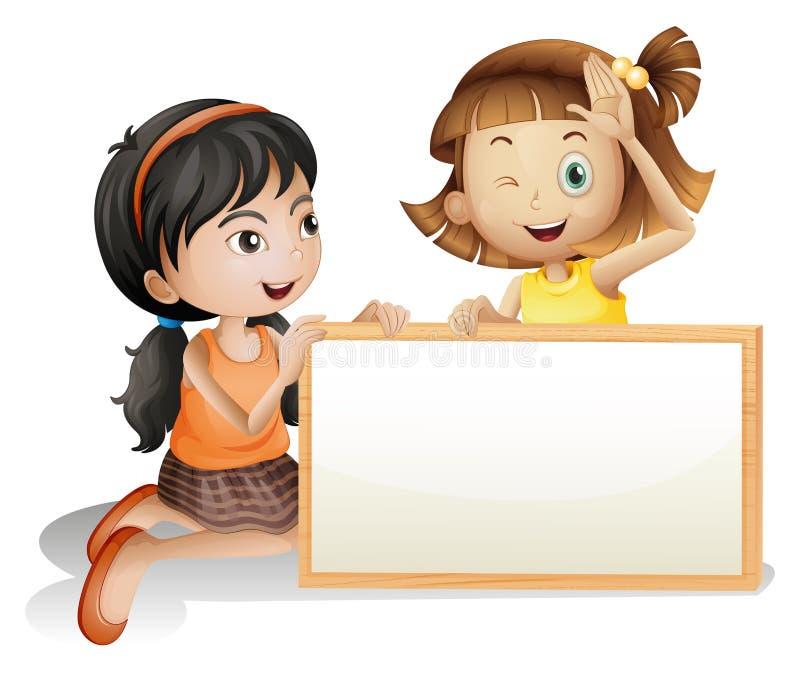 Twee meisjes met een lege witte raad stock illustratie