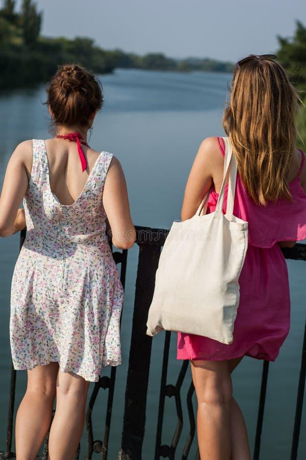 Twee meisjes op de brug stock fotografie
