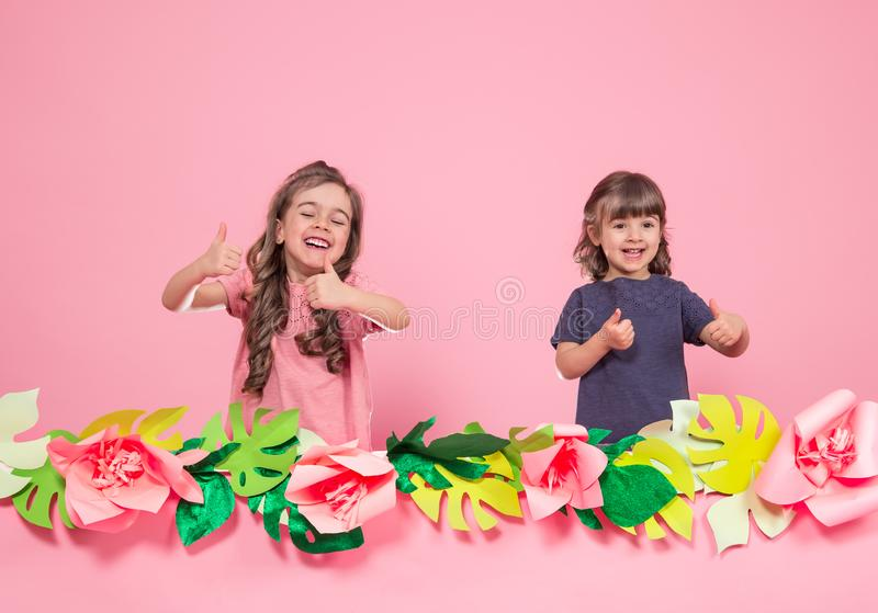 Twee meisjes op de zomer doorboren achtergrond royalty-vrije stock foto
