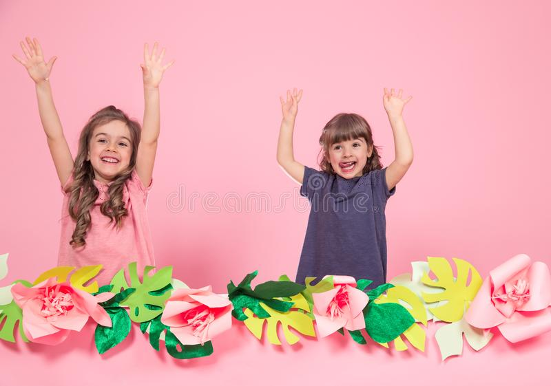 Twee meisjes op de zomer doorboren achtergrond stock afbeelding