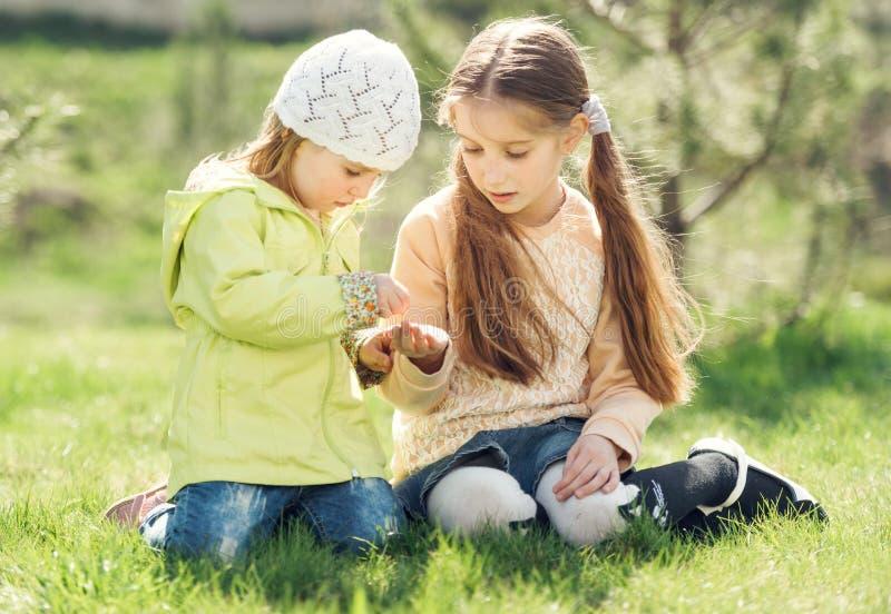 Twee meisjes spelen zitting op een gazon stock fotografie