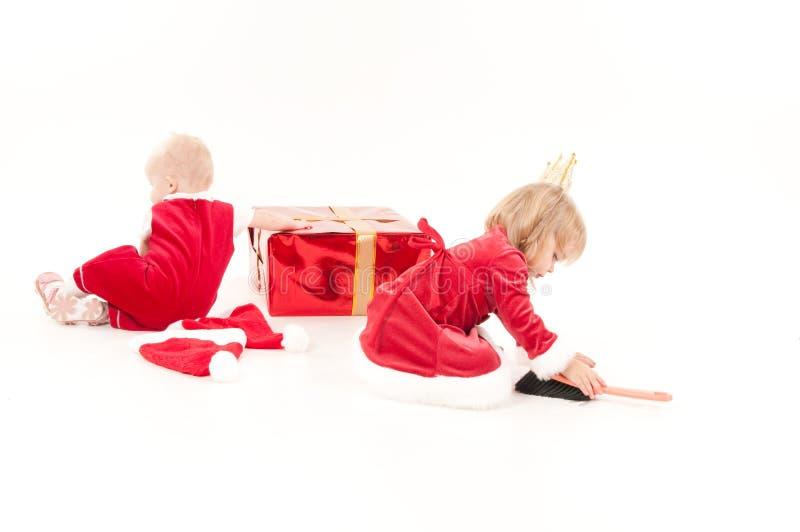 Twee meisjes van de cristmasbaby stock foto