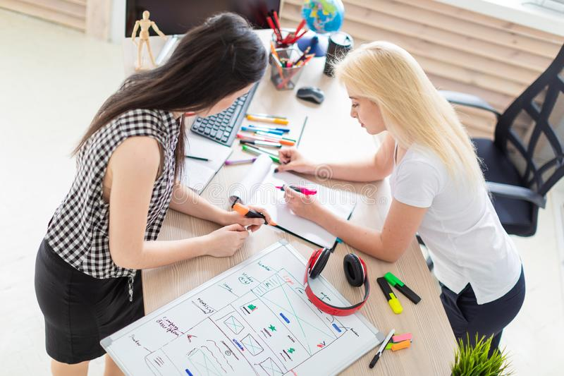Twee meisjes werken in het bureau stock fotografie