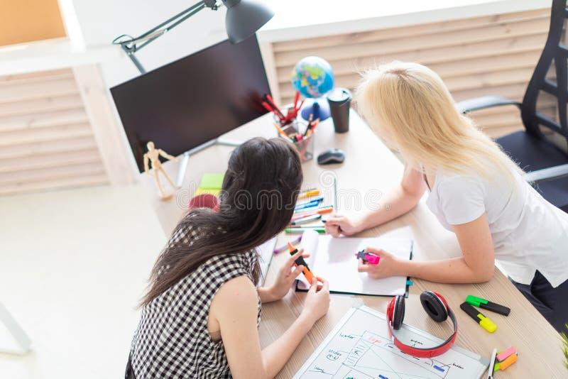 Twee meisjes werken in het bureau royalty-vrije stock foto