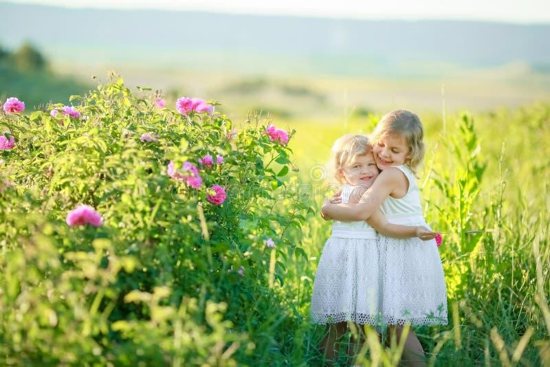 Twee meisjes in witte kleding op het bloemgebied stock foto