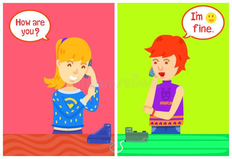 Twee meisjeskarakter die de telefoon met berichtvakje uitnodigen, Huis, spraken zij op de telefoon, hebben een lang gesprek op de royalty-vrije illustratie