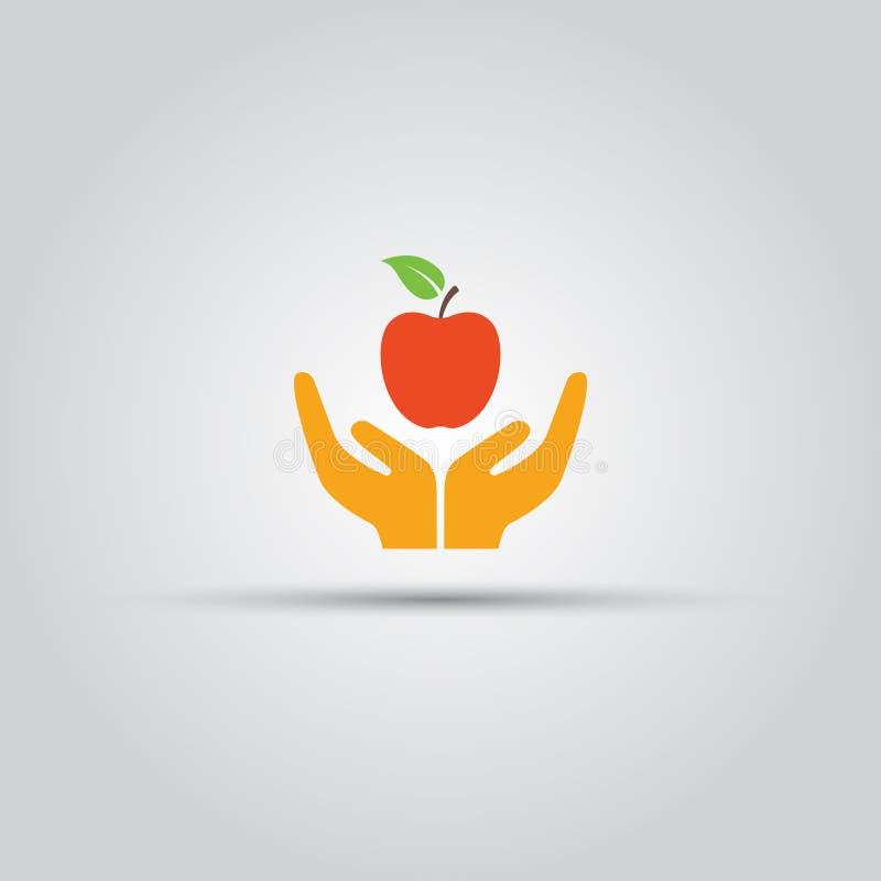 Twee menselijke handen die rood appel gekleurd pictogram aanbieden royalty-vrije illustratie
