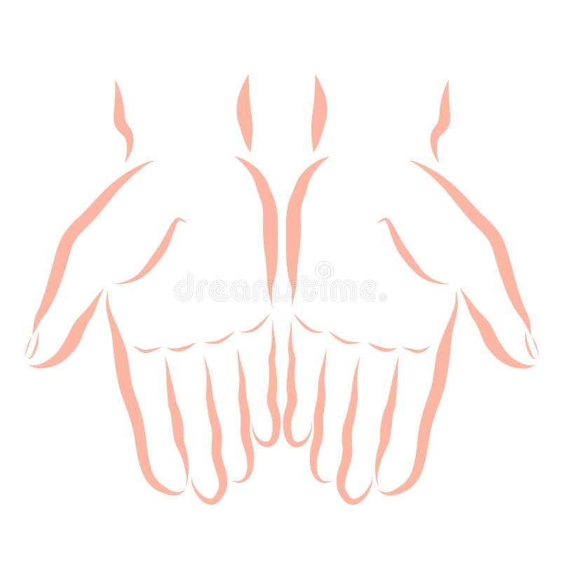 Twee menselijke handen met lege palmen, contour royalty-vrije illustratie
