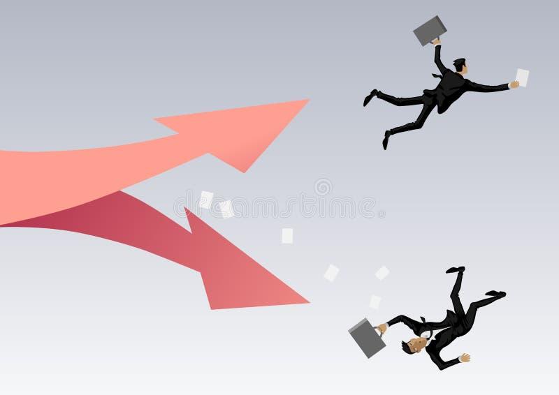 Twee mensen, binessmen vliegen onderaan steel één onderaan de verliezer, andere omhoog de leider vector illustratie