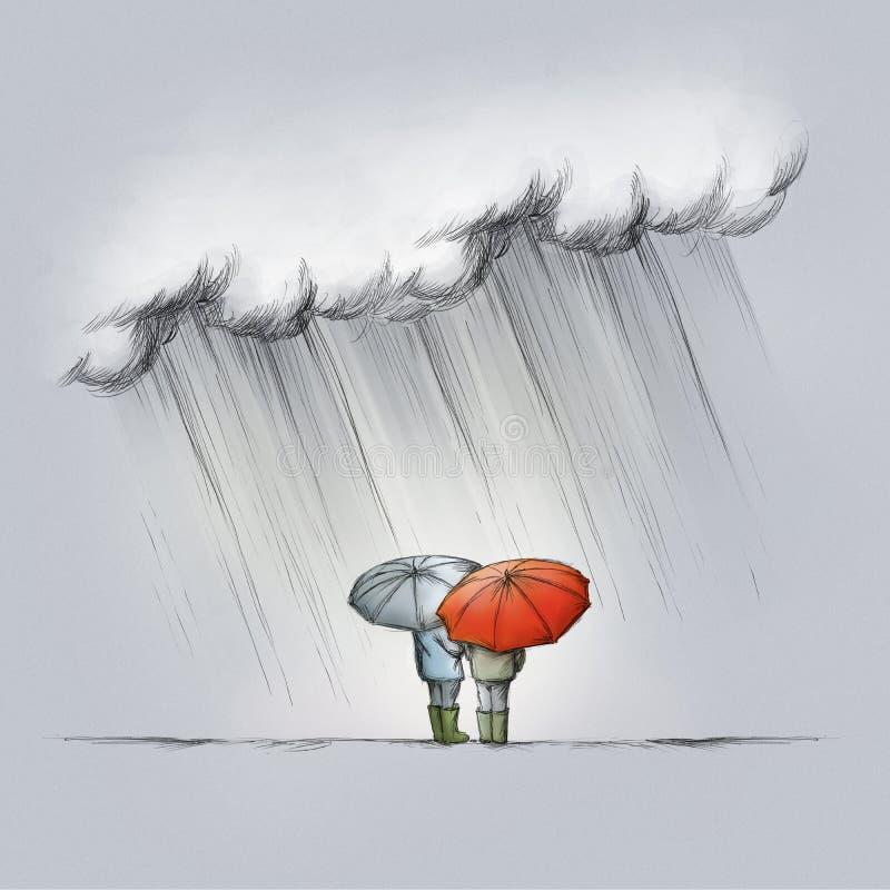Twee mensen in de regen met erachter paraplu's van vector illustratie