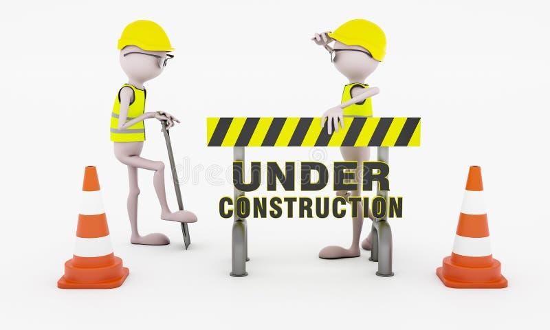 Twee mensen die behinde een barrièreplank werken stock illustratie