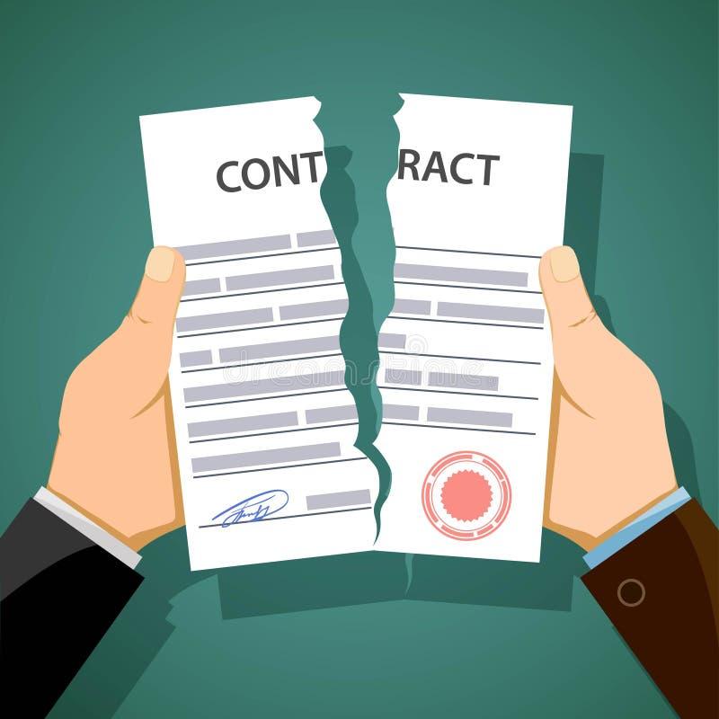 Twee mensen die contracten breken Ontslag en werkloosheid voorraad ve vector illustratie