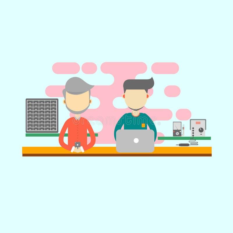 Twee mensen die in het bureau als computertechnicus werken Vlakke ontwerpvector Computerontwerp stock illustratie