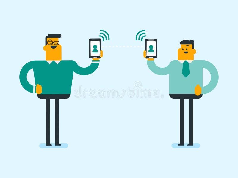 Download Twee Mensen Die Informatie Via Smartphones Ruilen Vector Illustratie - Illustratie bestaande uit gadget, mobiliteit: 107709023