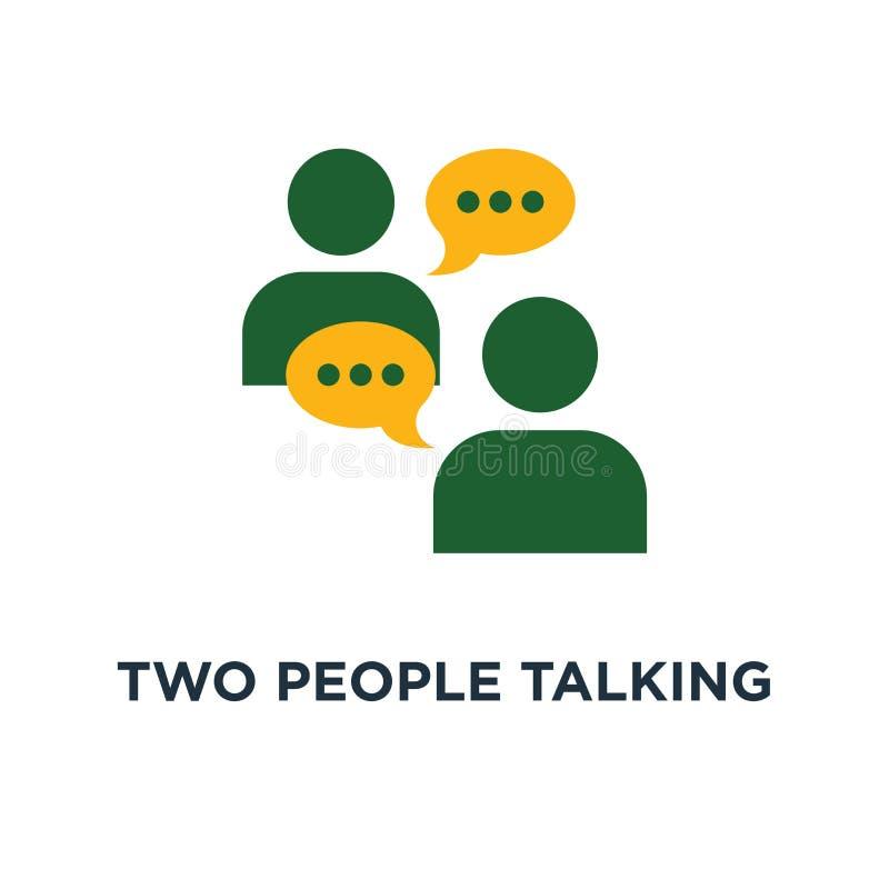 twee mensen die pictogram spreken het bespreken van een het symboolontwerp van het projectconcept, een mededeling en een onderhan royalty-vrije illustratie